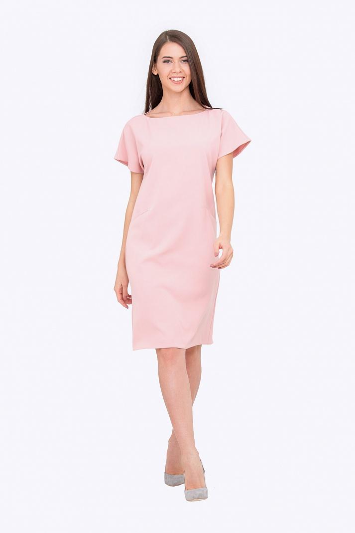 платье прямого силуэта розовое фото