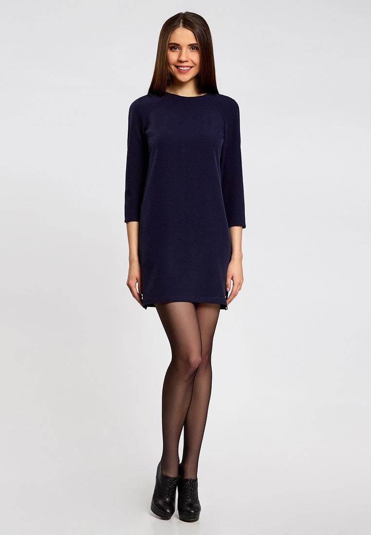 платье прямого силуэта Темно-синиt фото