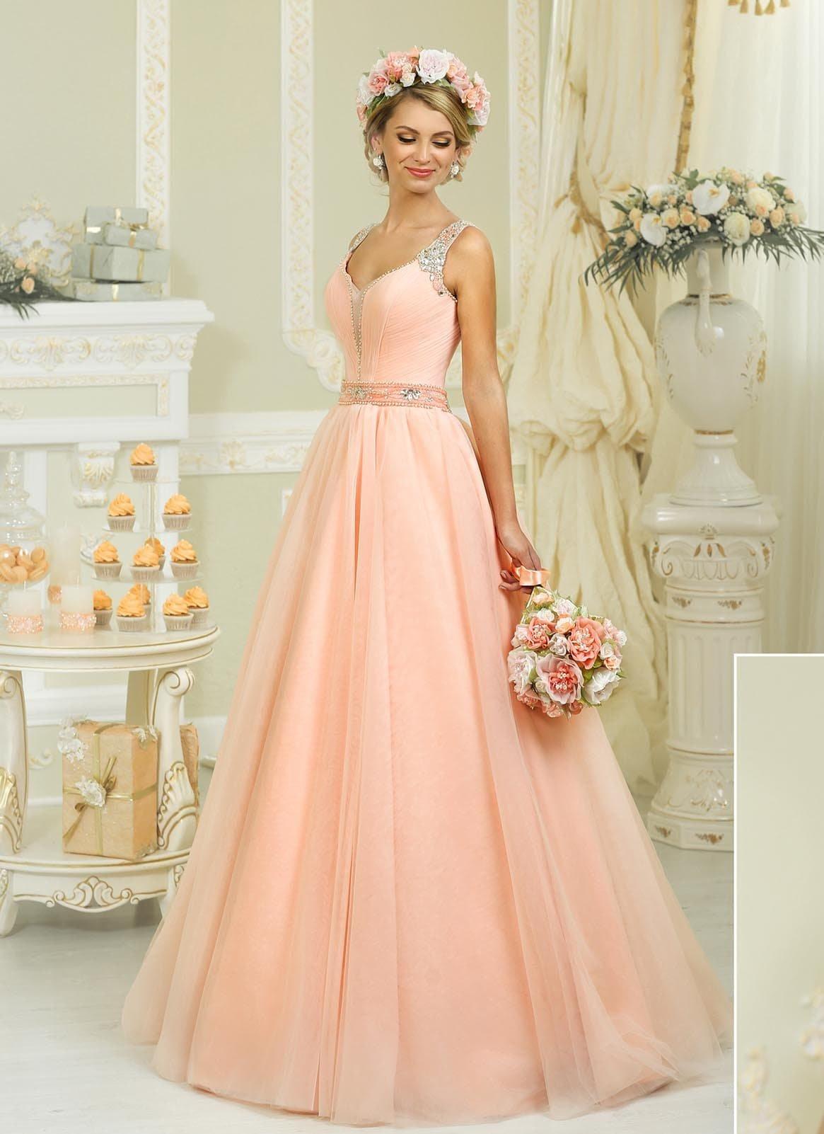 свадебное платье персиковое фото