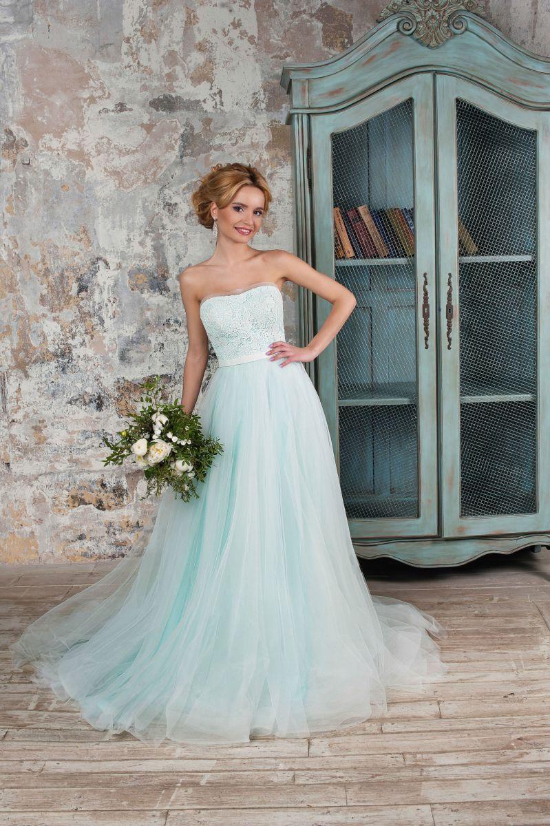 свадебное платье мятное фото