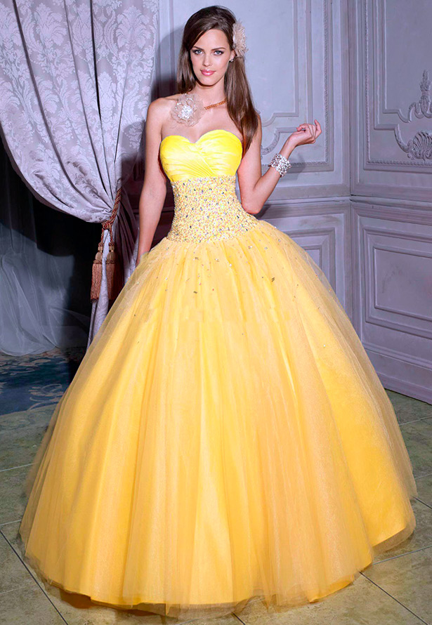 свадебное платье желтое фото