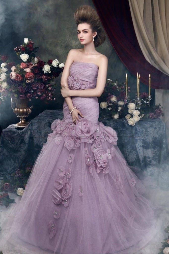 свадебное платье сиреневое фото