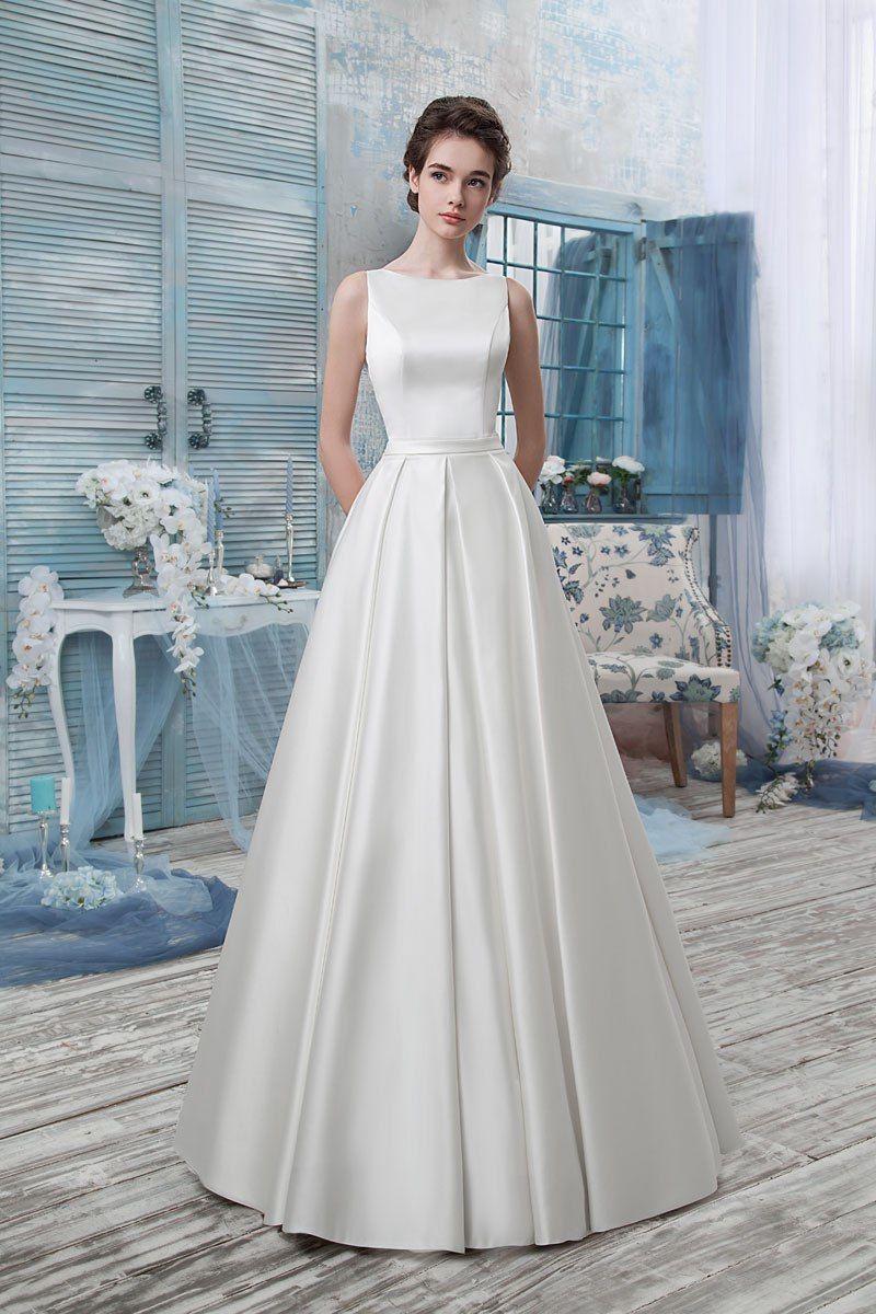 свадебное платье атлас фото