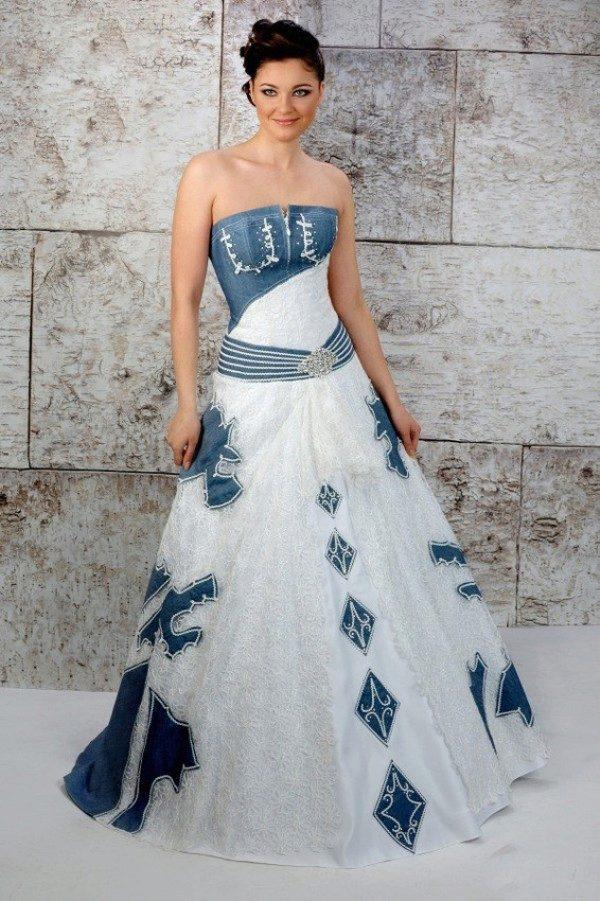 свадебное платье джинсовая ткань фото