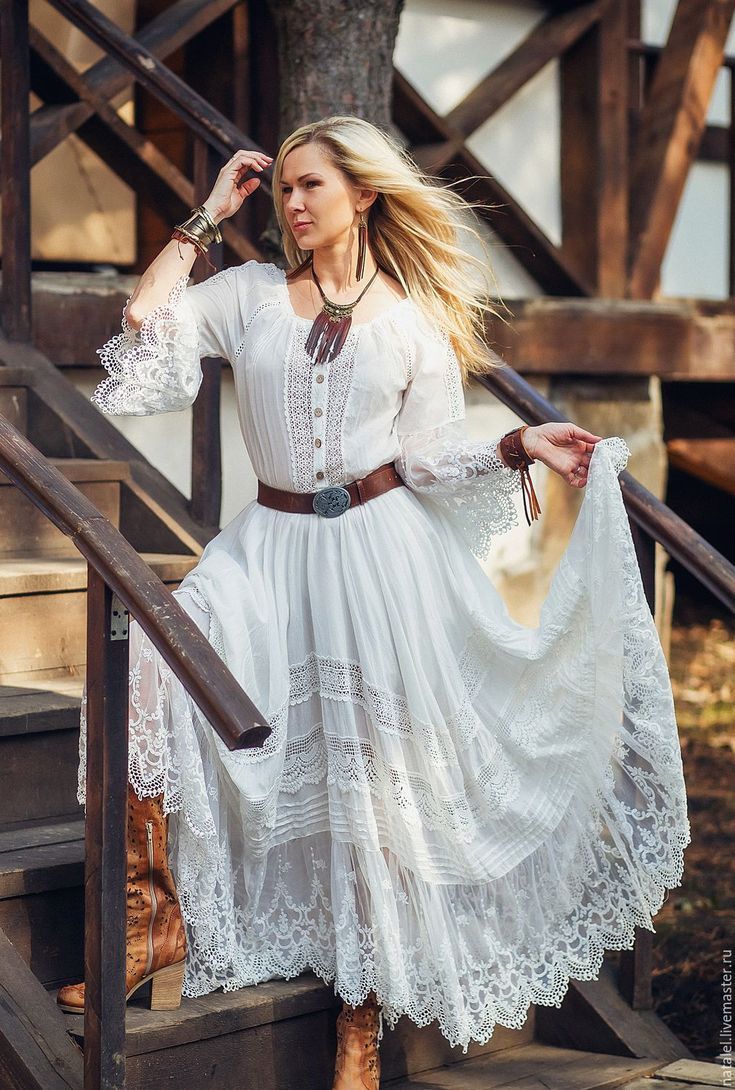 платье бохо с кружевом фото