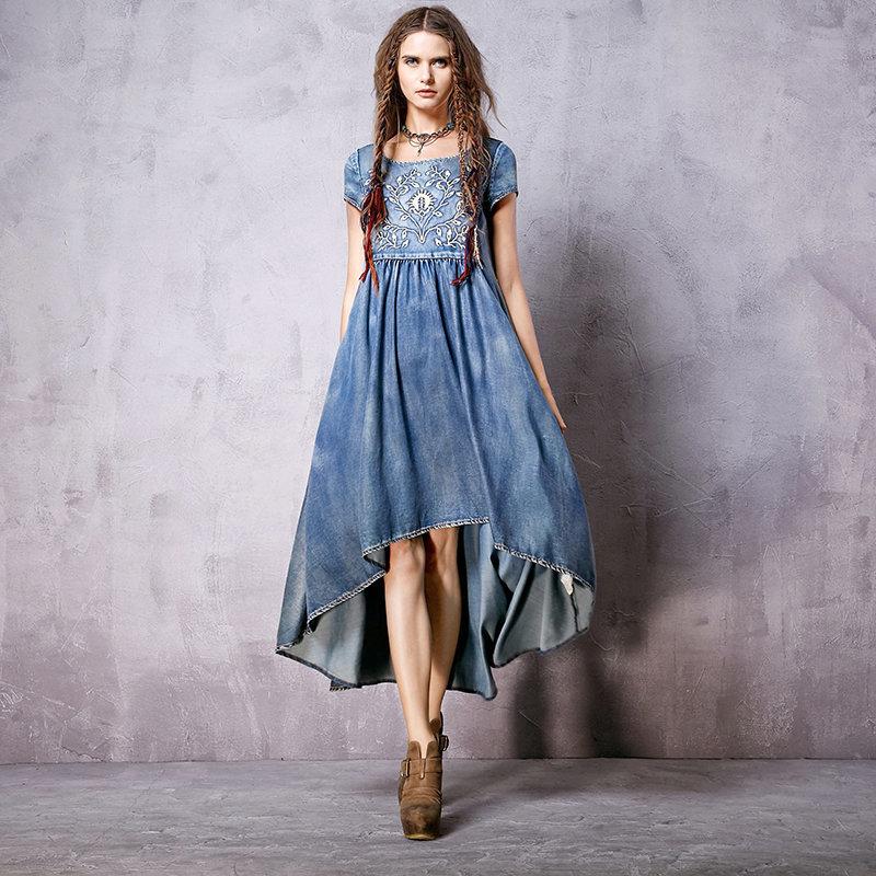 Платье бохо джинсовое фото