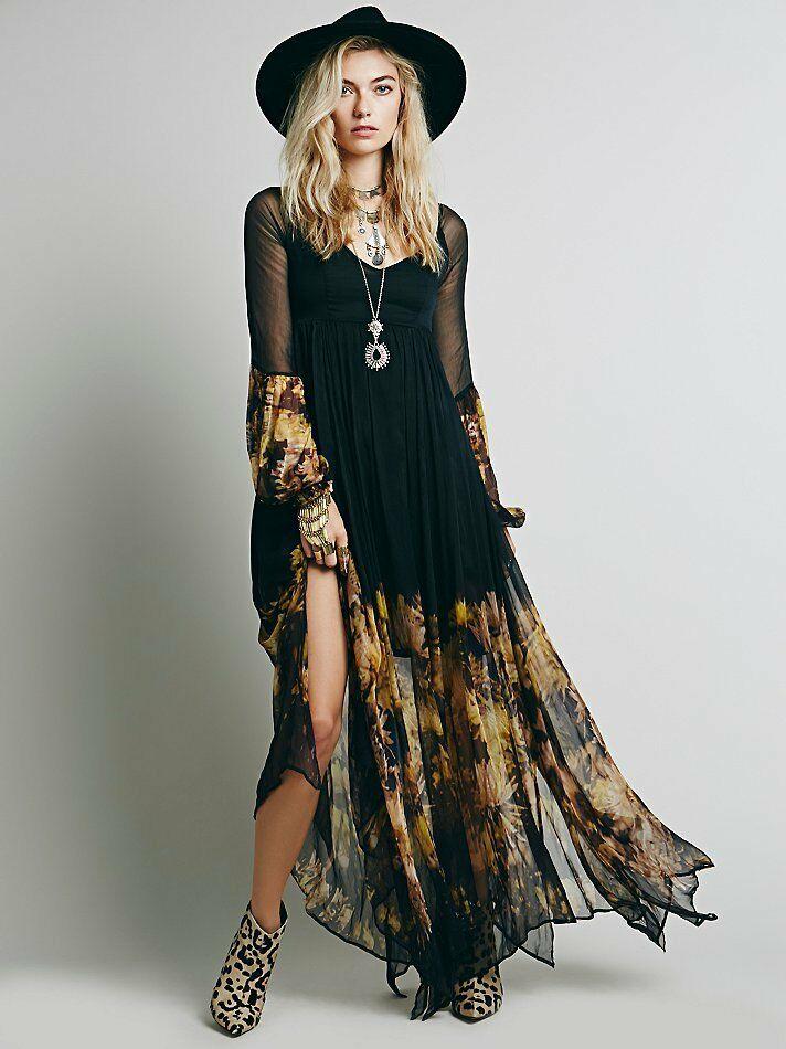 Платье бохо шик черное фото