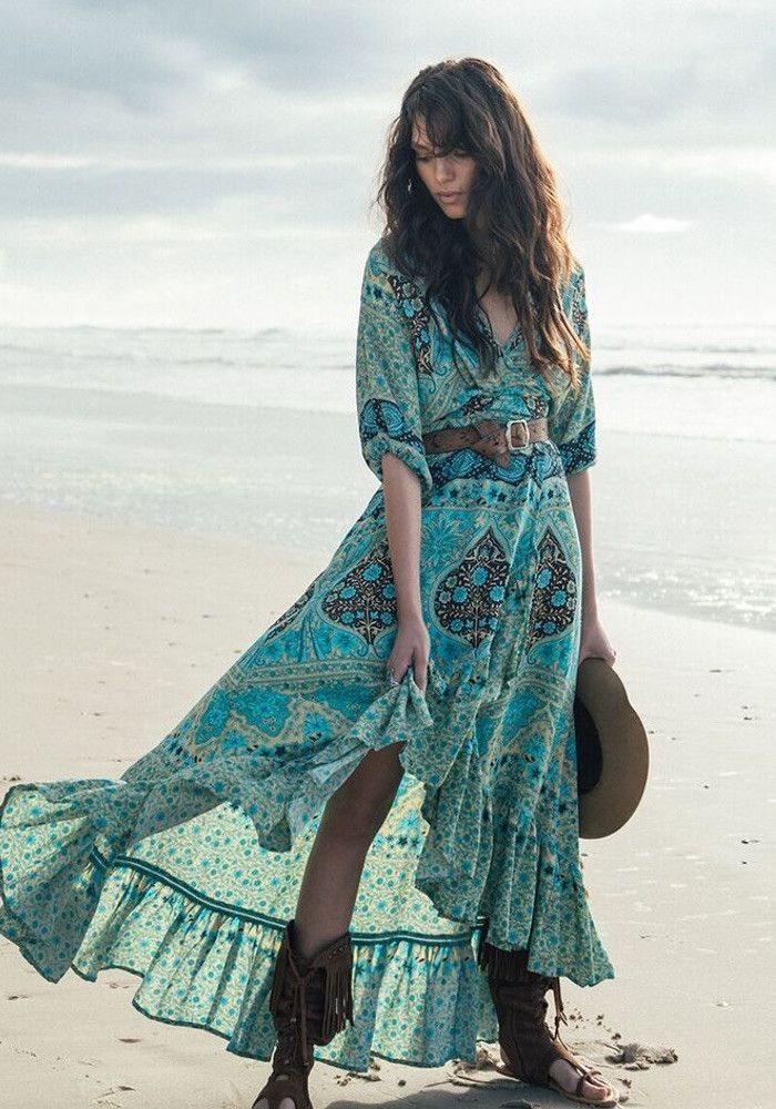 Платье бохо шик зеленое фото