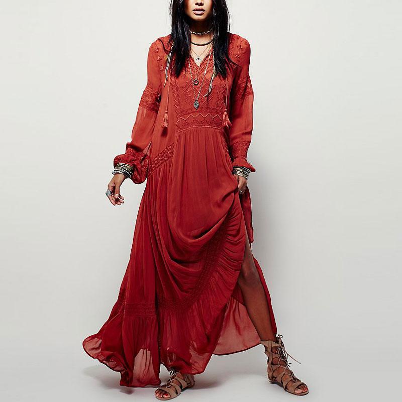 Платье бохо шик красное фото