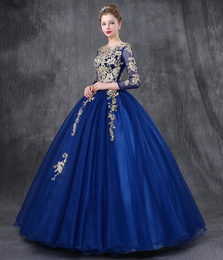 бальное платье синее