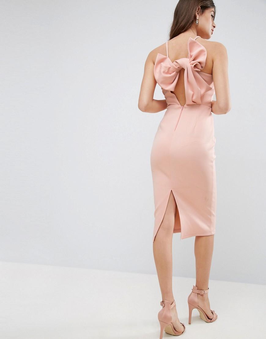 розовое платье футляр с бантом