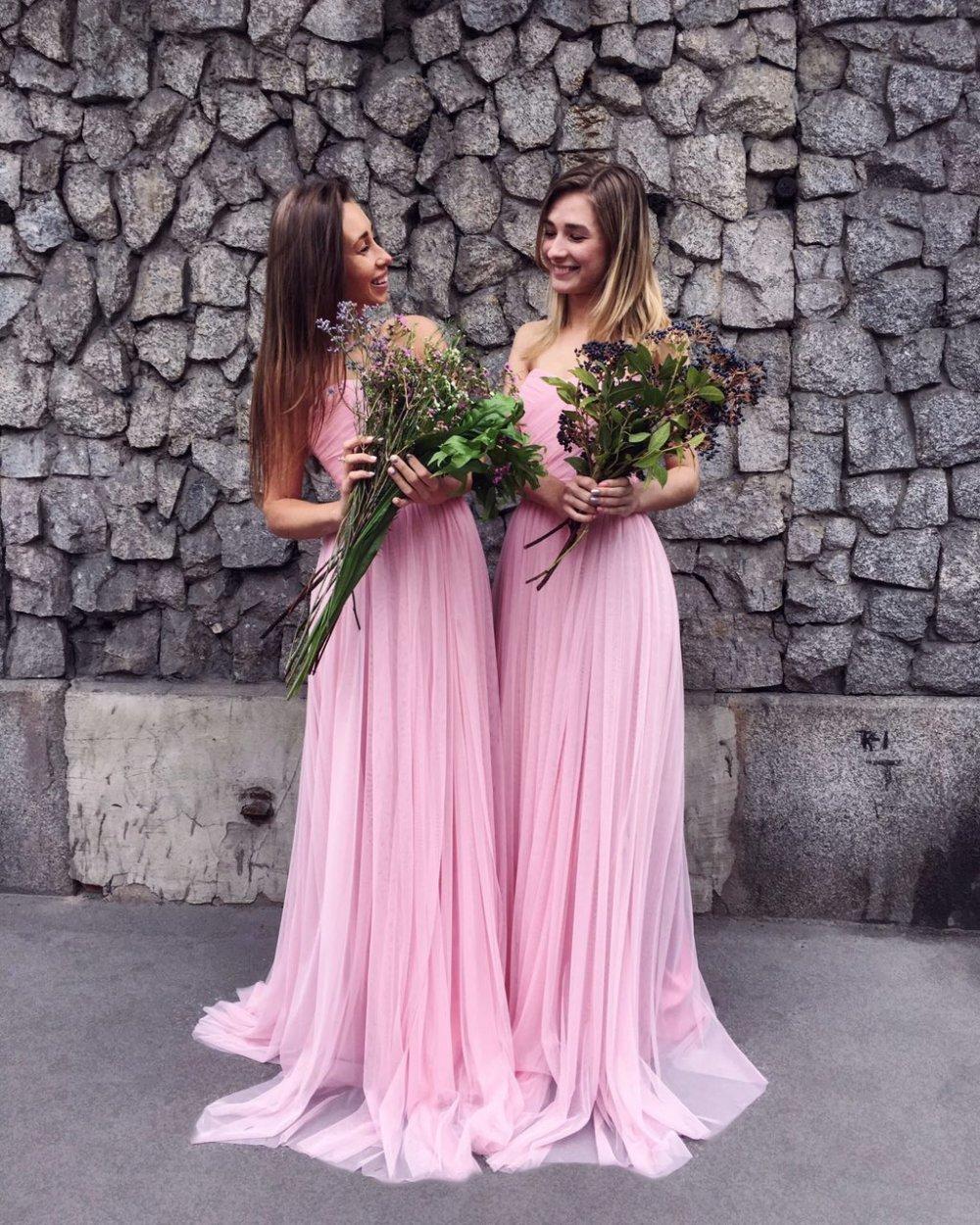 розовое платье для подружки невесты