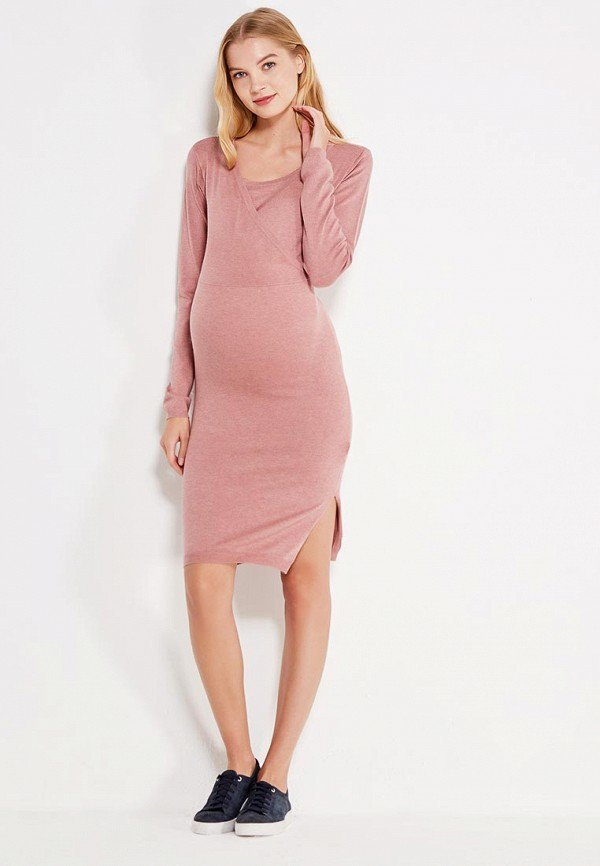 розовое платье для беременных трикотажное