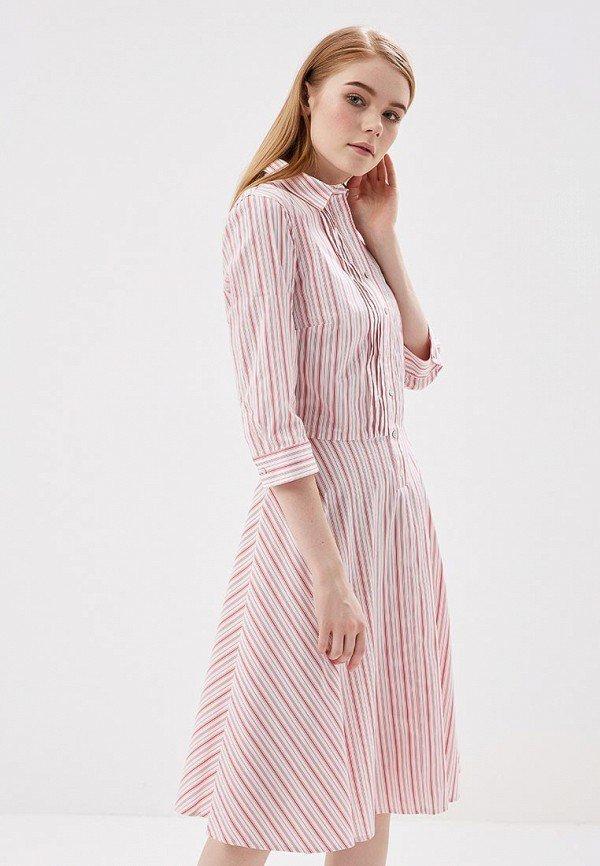 белое платье в розовую полоску