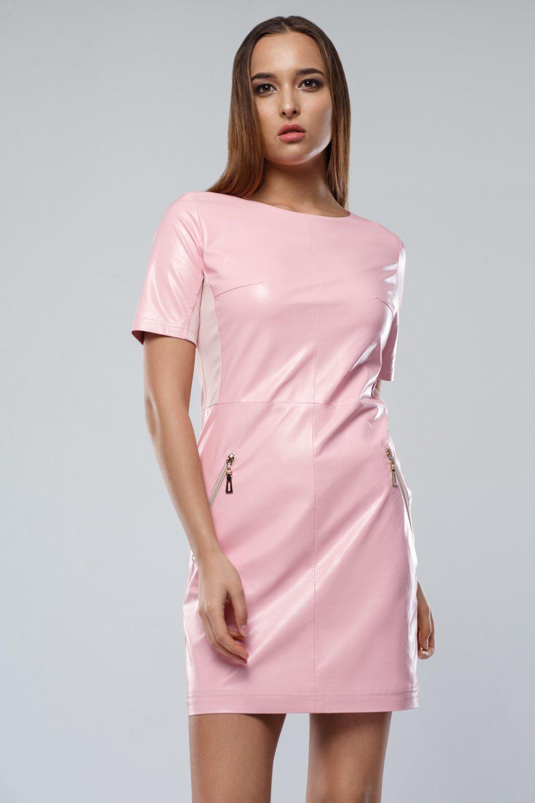 розовое платье кожаное