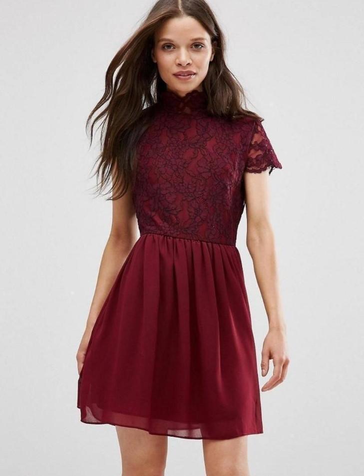 короткое платье бордовое