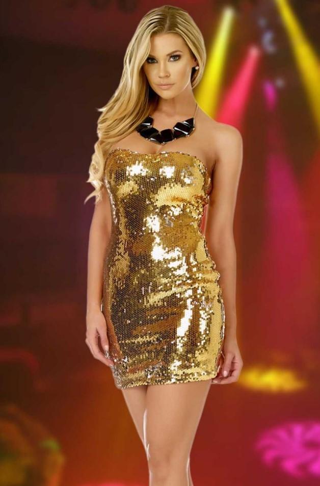 короткое платье золотистое