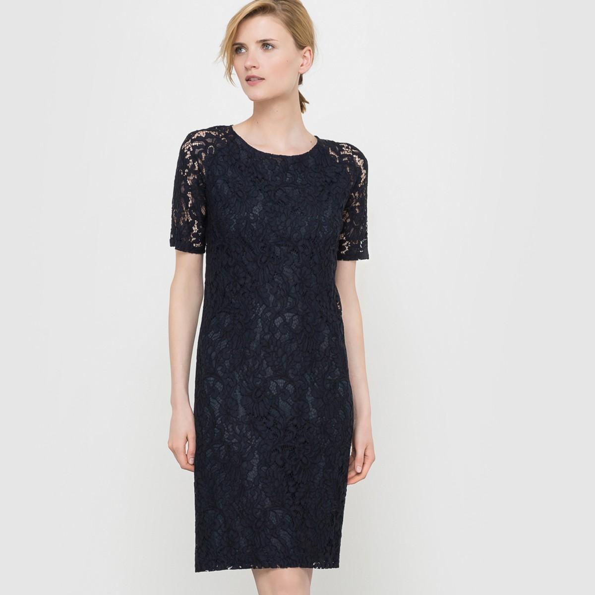 кружевное платье прямого кроя