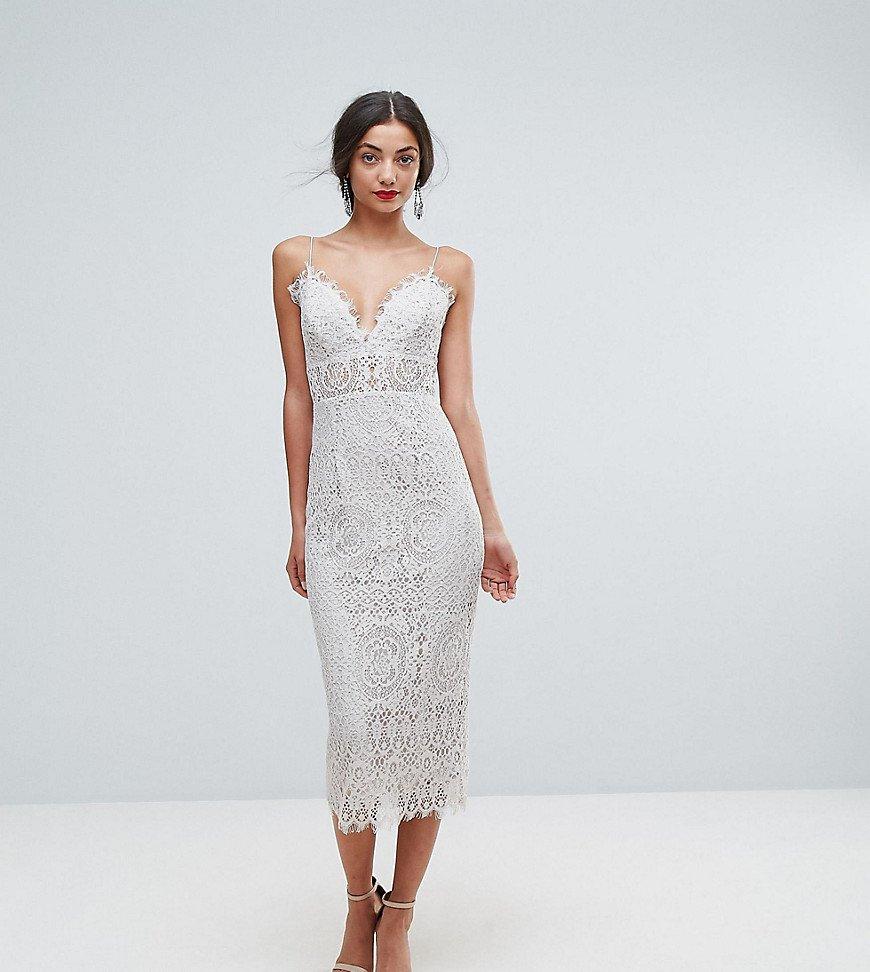 кружевное платье приталенное миди