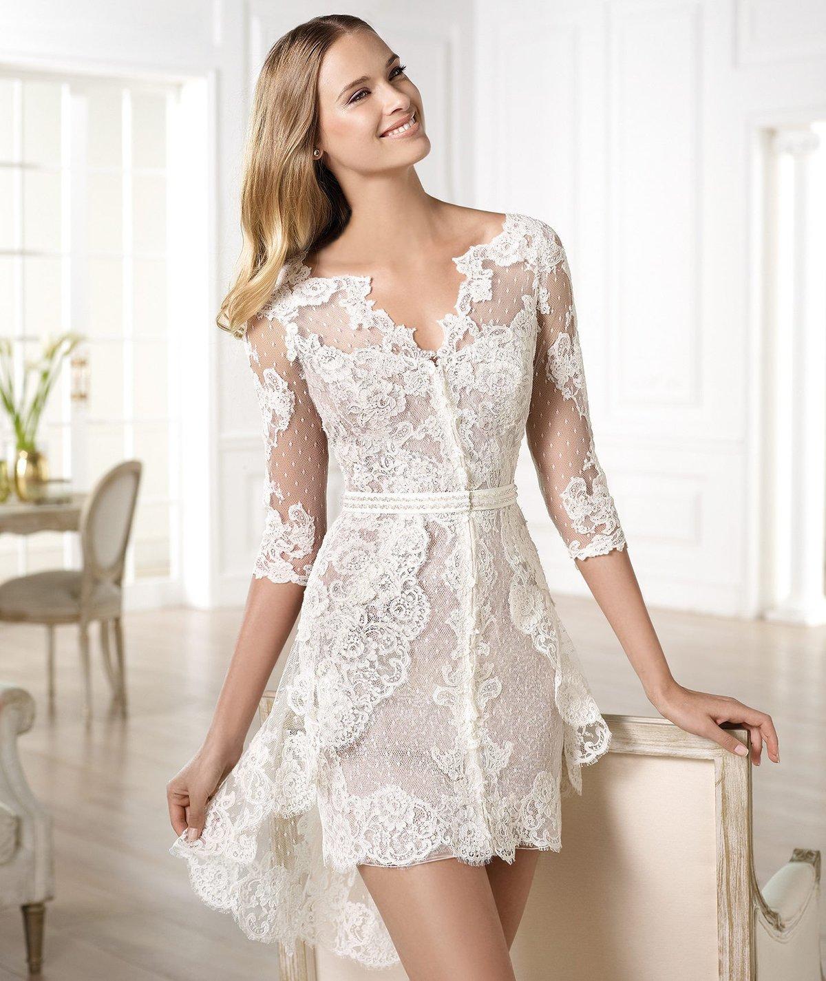 кружевное платье свадебное короткое