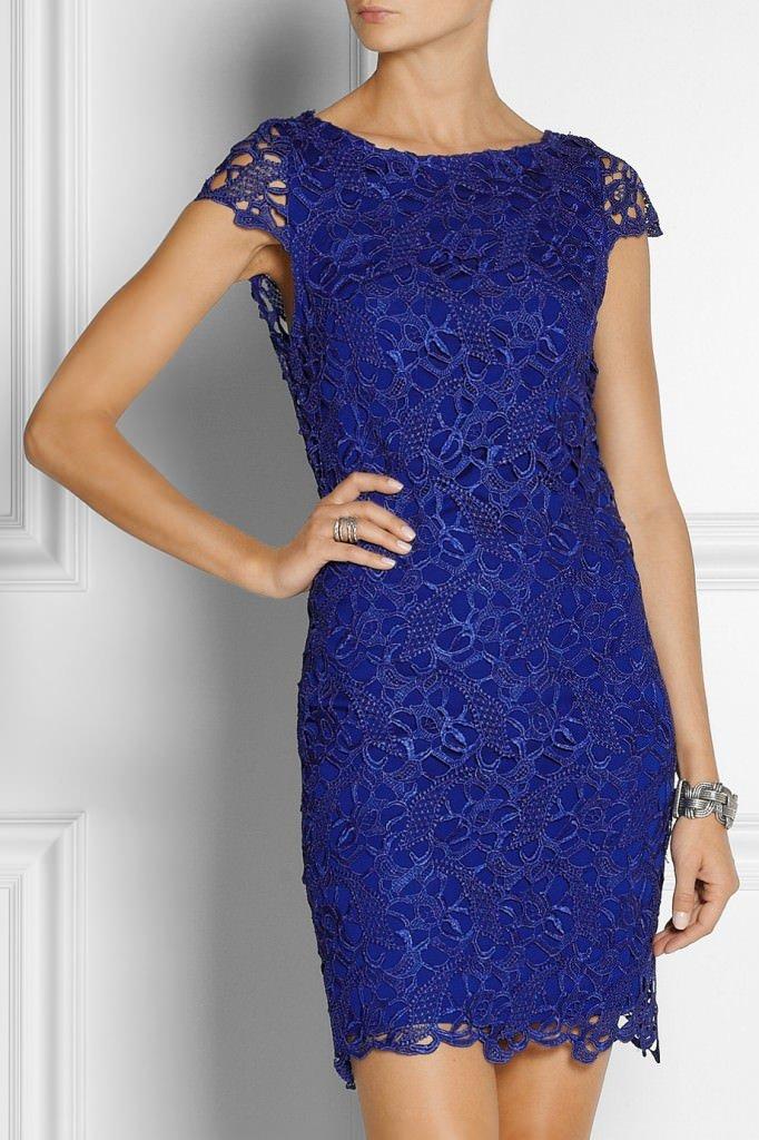 кружевное платье синее
