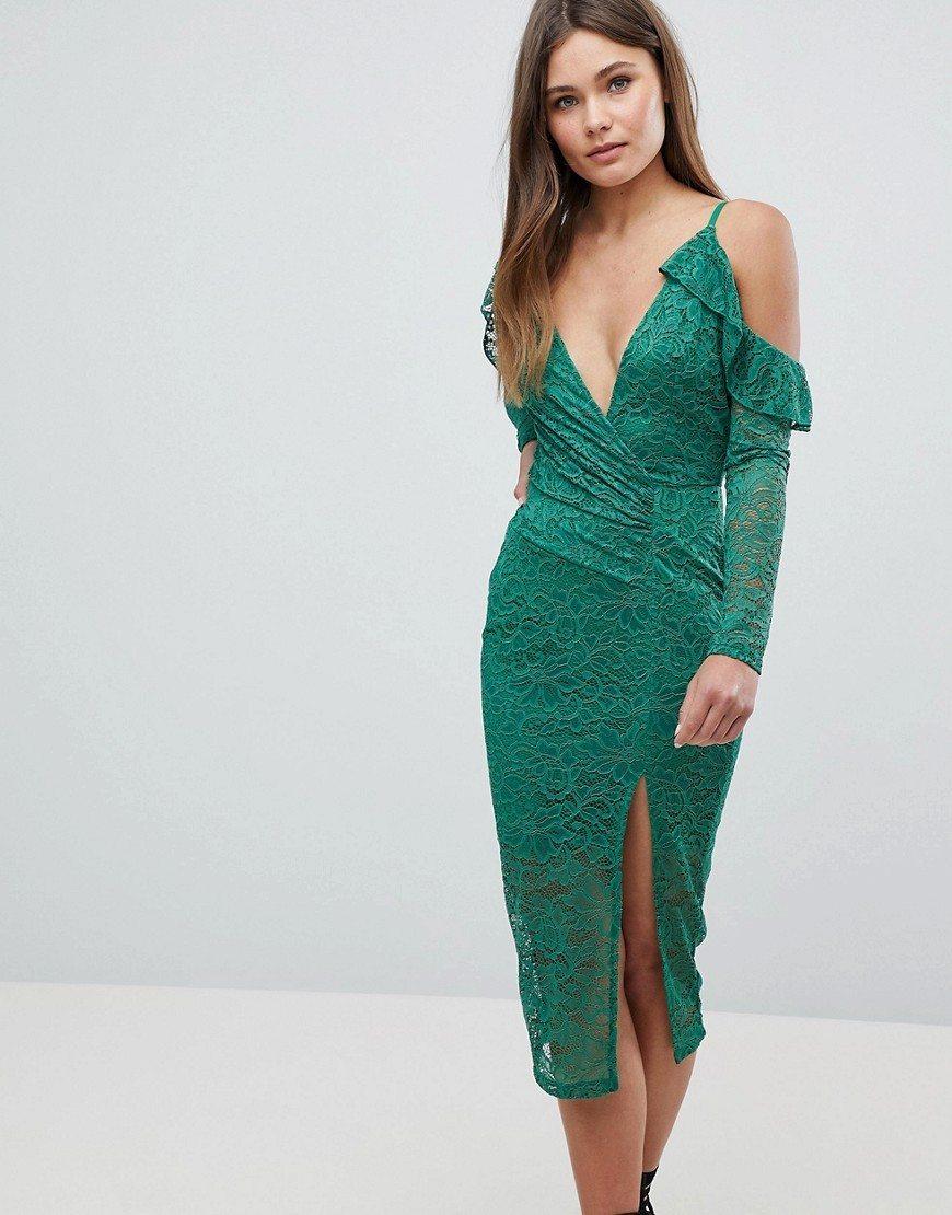 кружевное платье зеленое