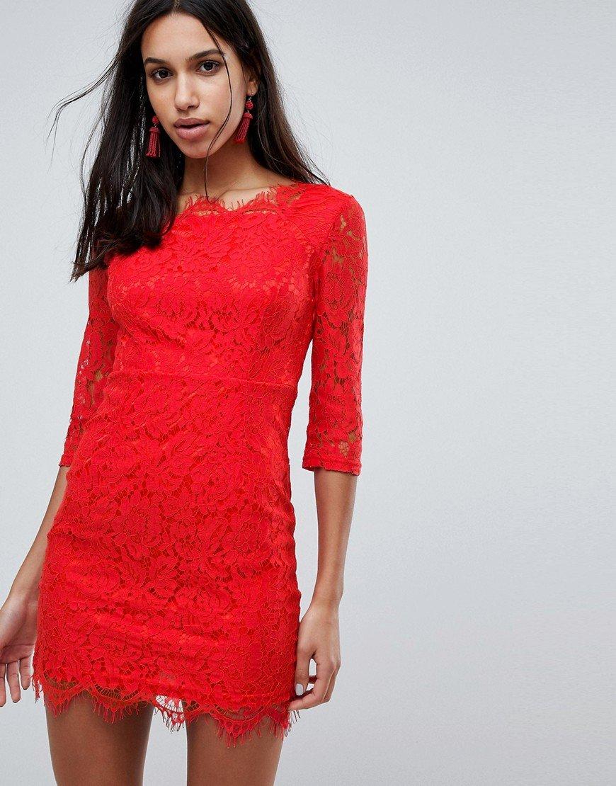 кружевное платье красное