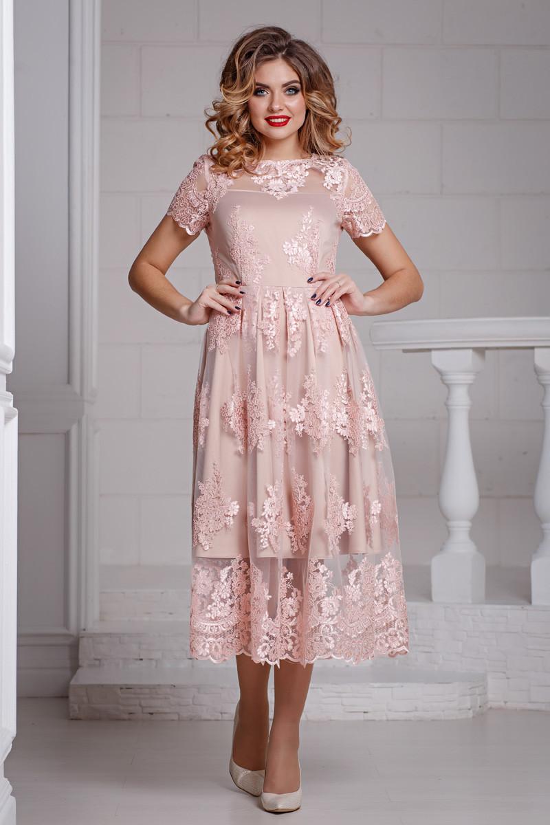 кружевное платье пудровое