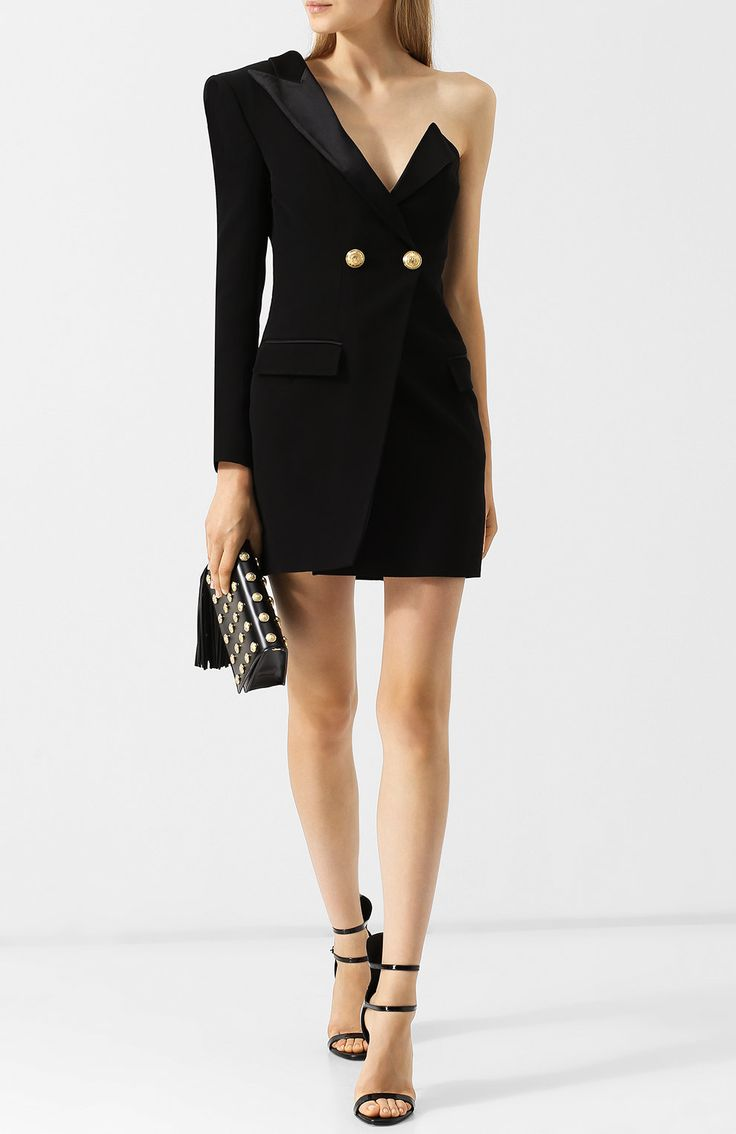 Платье-пиджак на одно плечо
