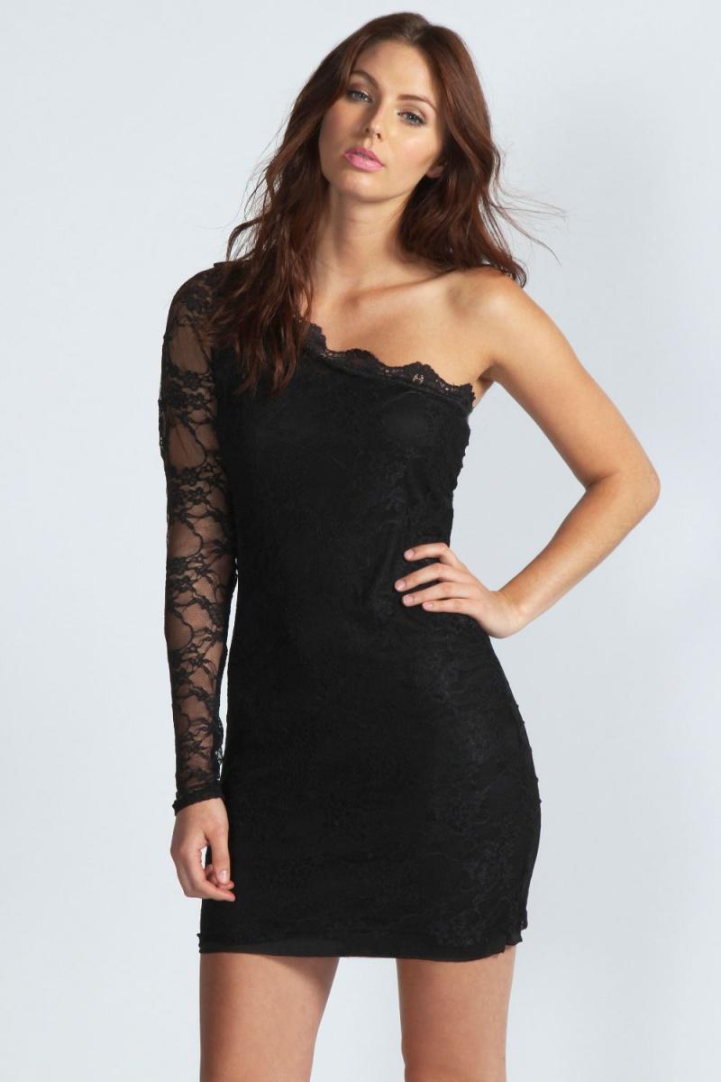 Кружевное короткое платье на одно плечо