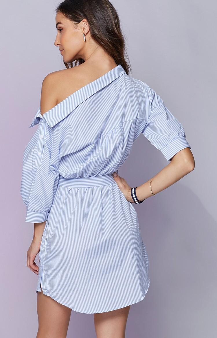 Платье-рубашка на одно плечо