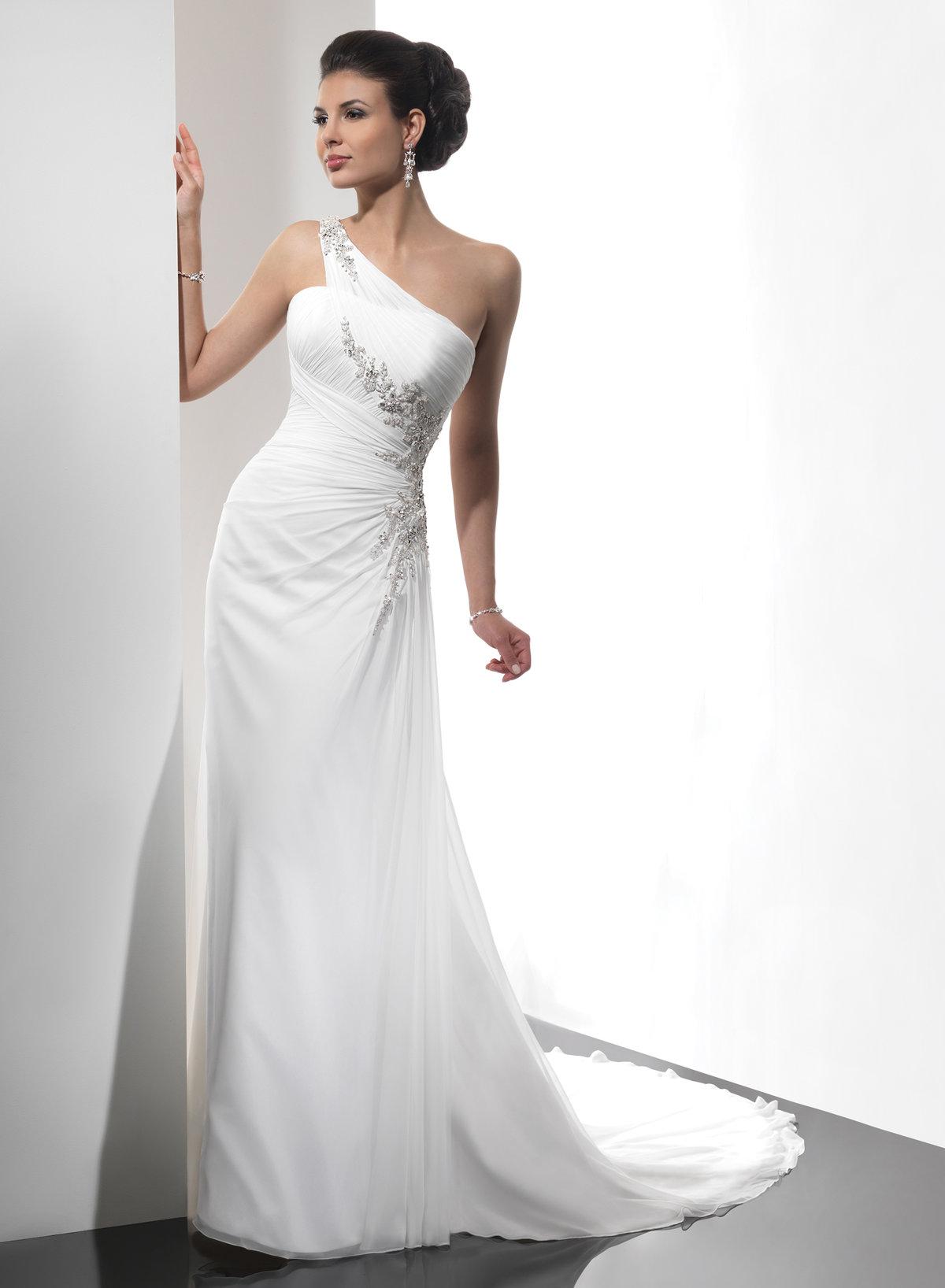 платье на одно плечо свадебное