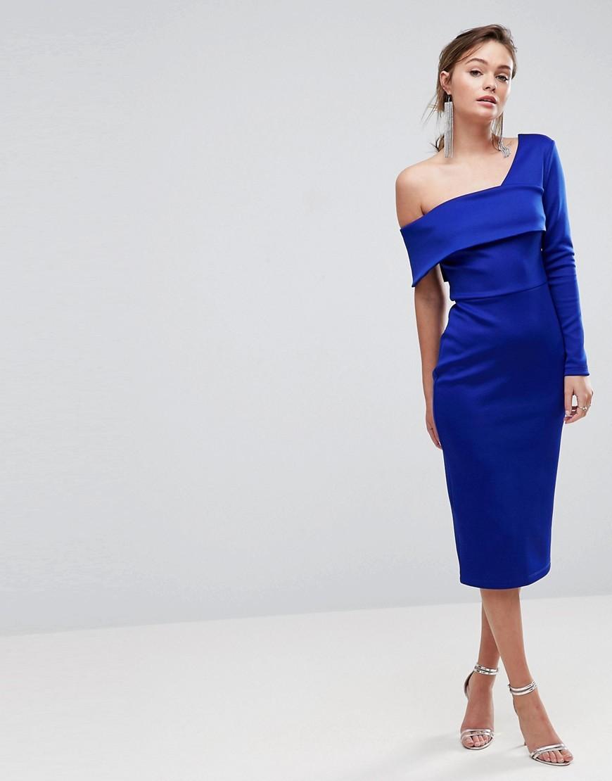 платье на одно плечо синее