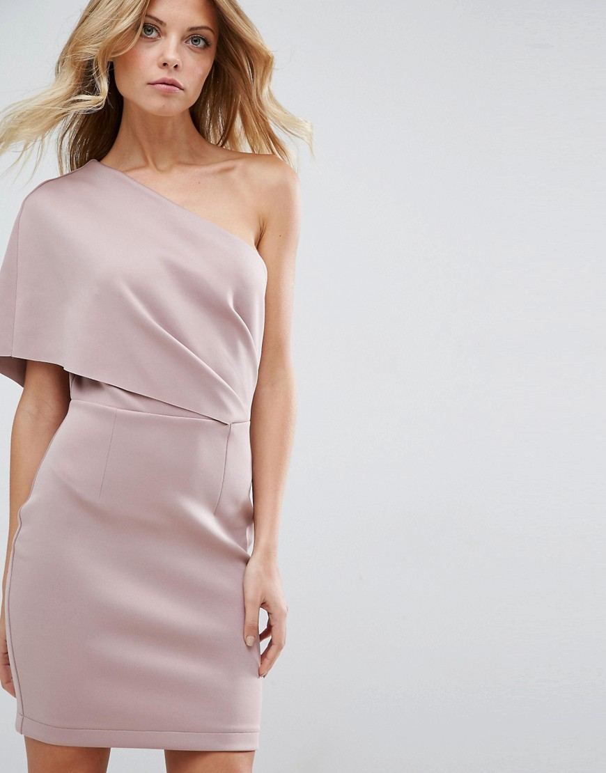 платье на одно плечо бежевое