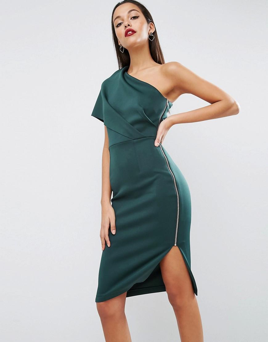 платье на одно плечо зеленое