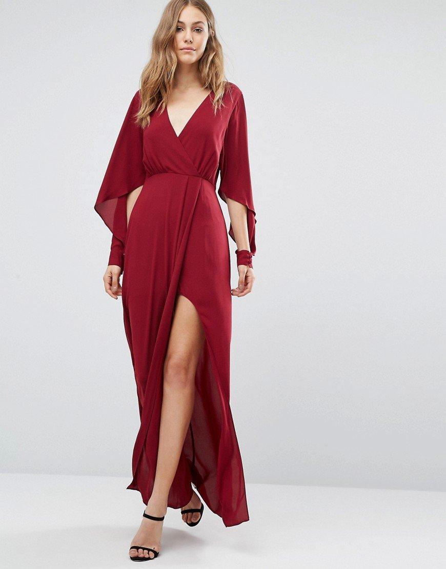 Длинное платье макси с запахом и разрезом по ноге