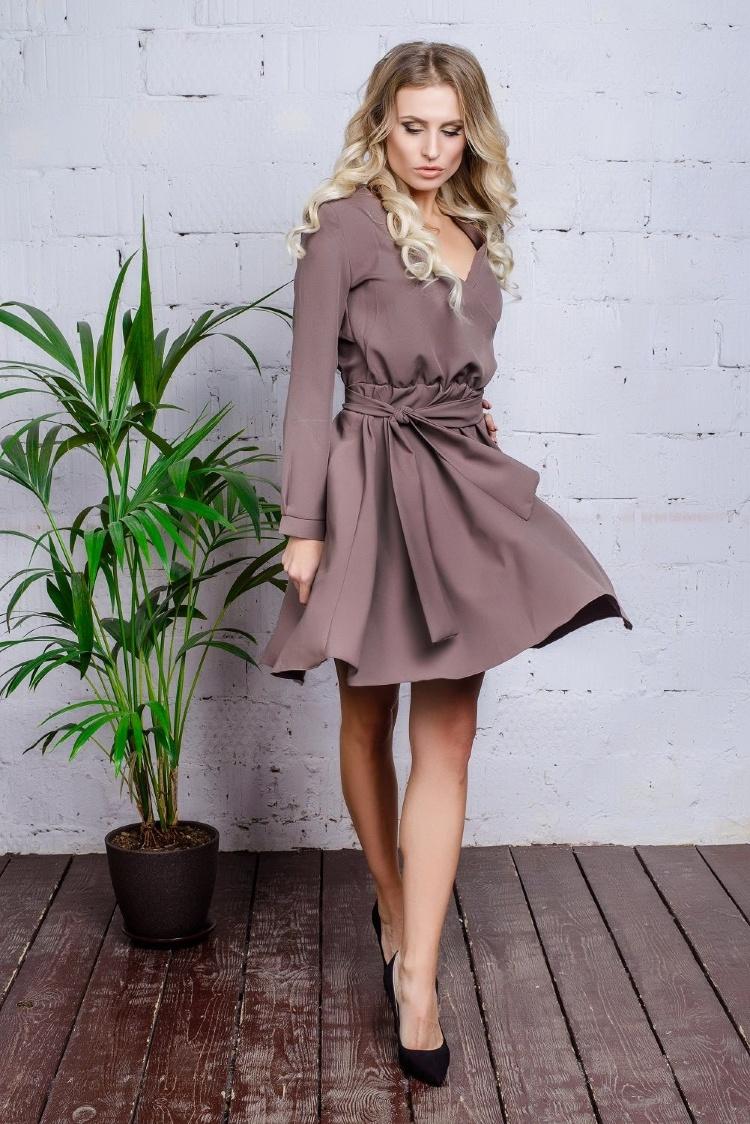 платье с запахом короткое с пышной юбкой