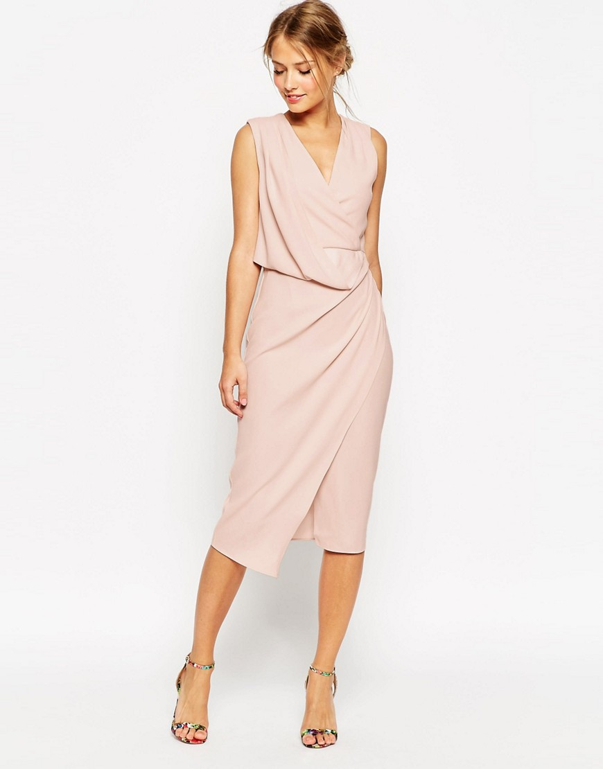 платье с запахом футляр прямого кроя