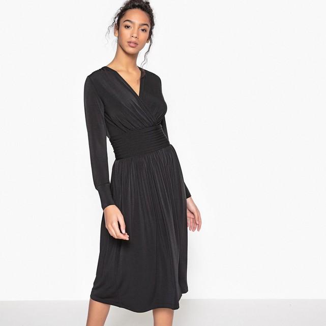 Платье с запахом со складками