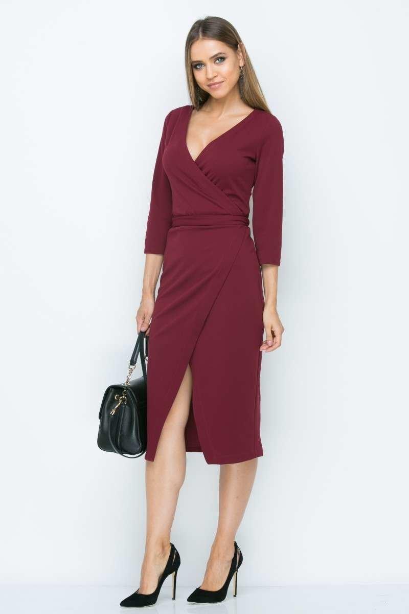 платье с запахом бордовое