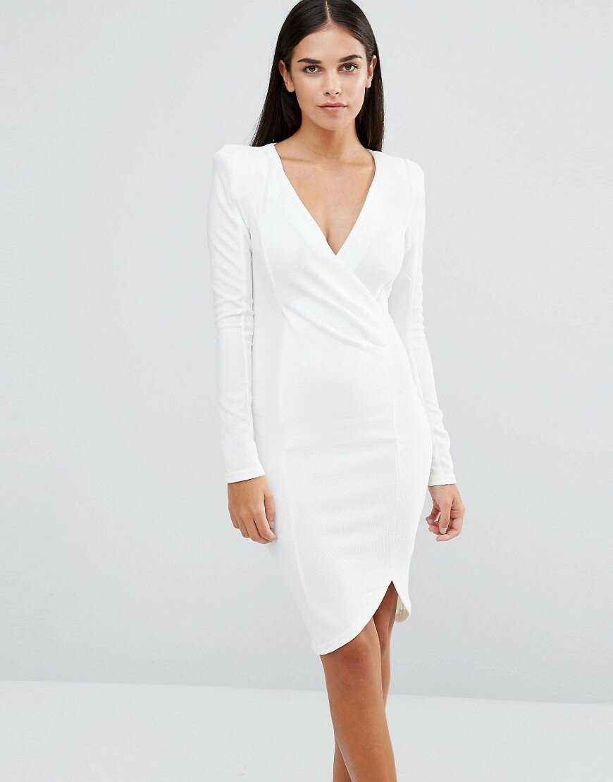 платье с запахом белое