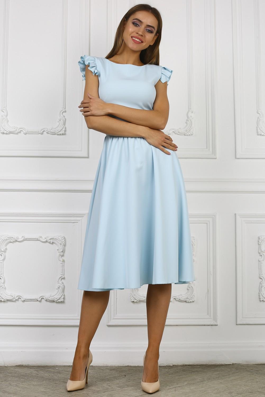 голубое платье миди