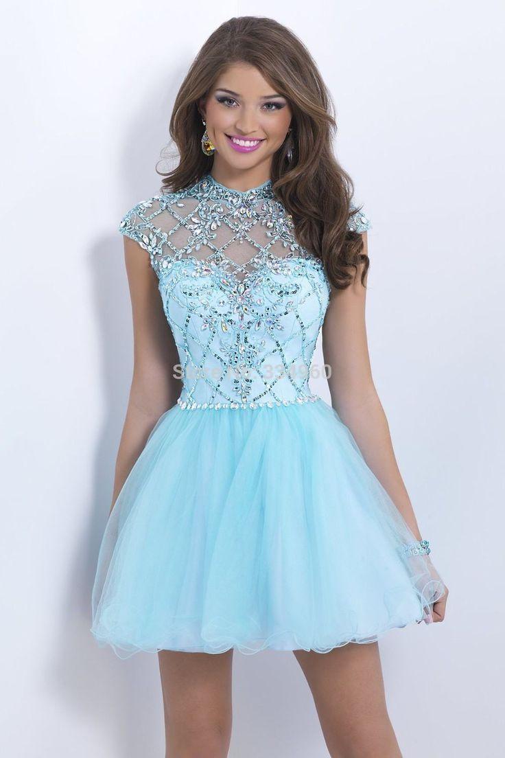 голубое платье пышное короткое