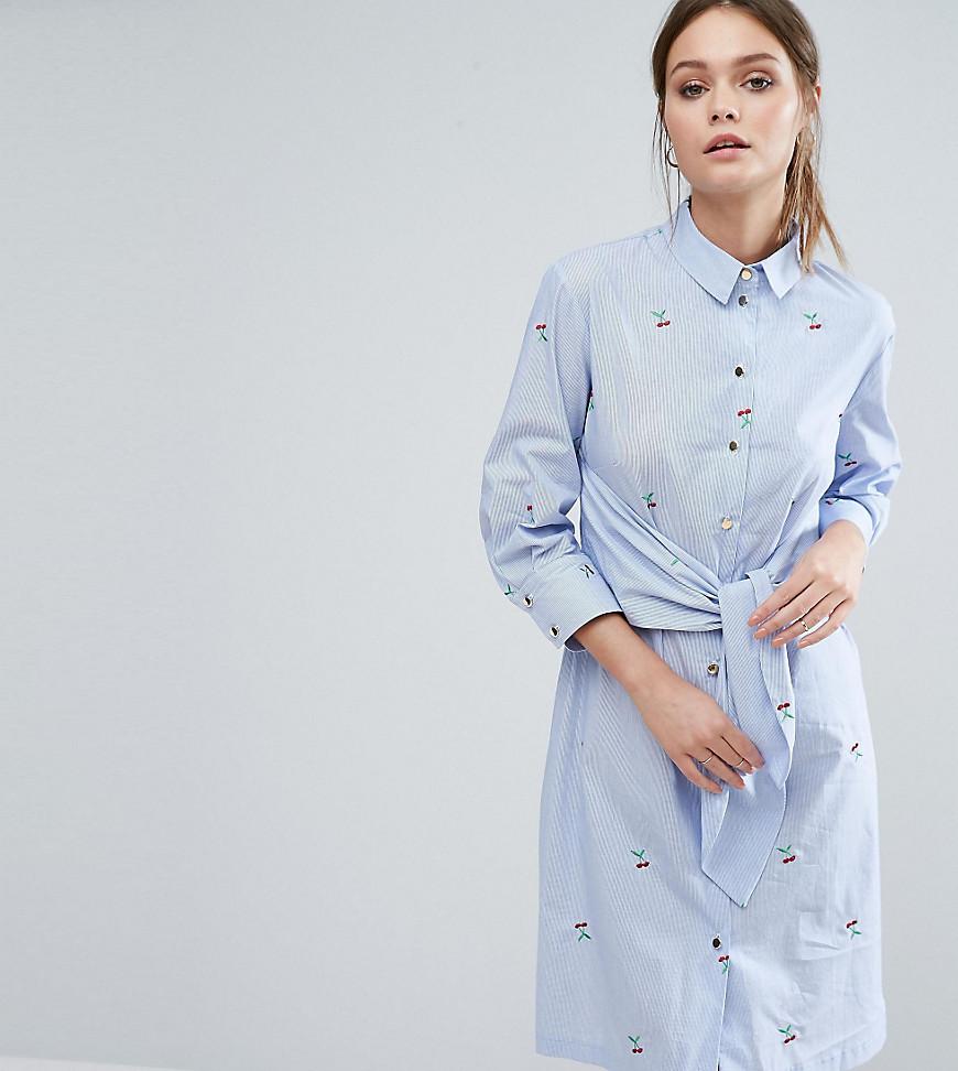 голубое платье рубашка с длинным рукавом