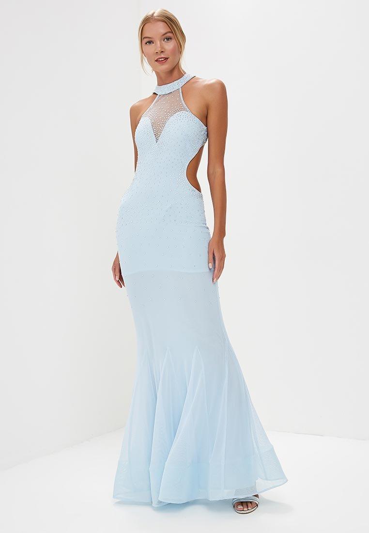голубое платье вечернее