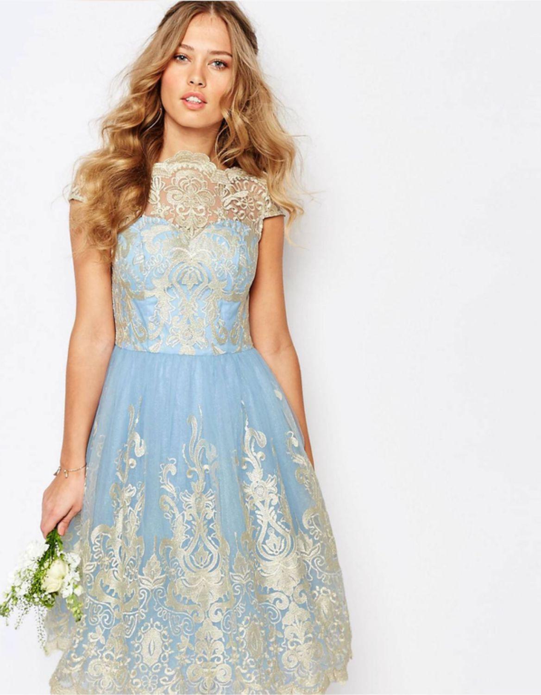 голубое платье с золотом