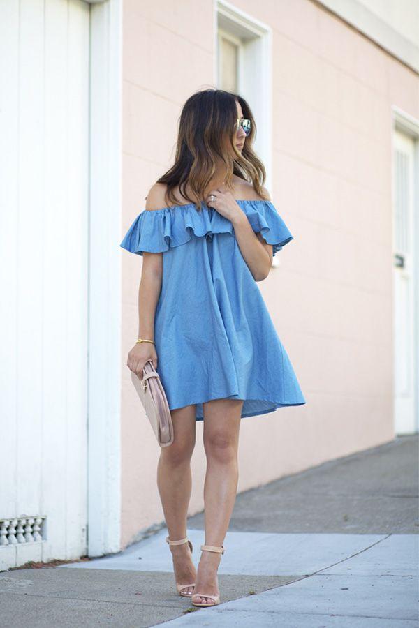 голубое платье босоножки