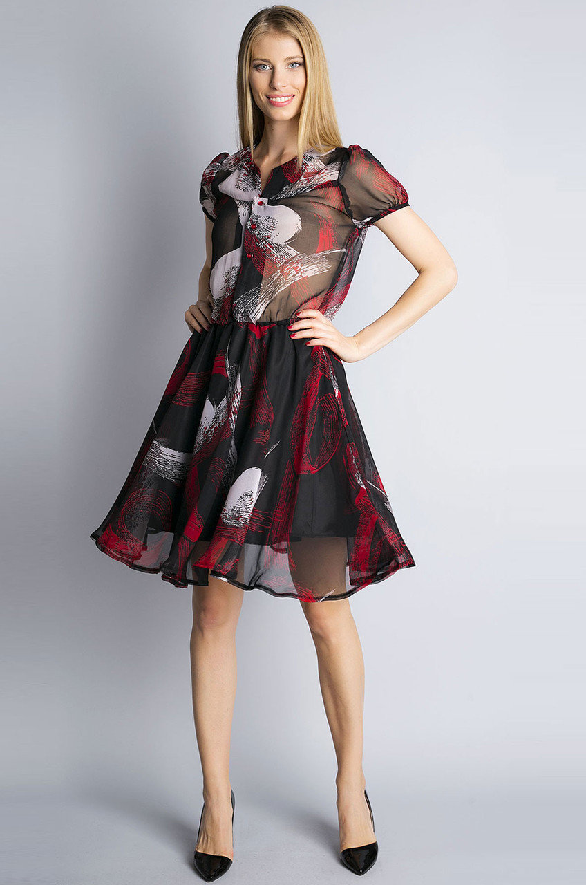 шифоновое платье с юбкой клеш