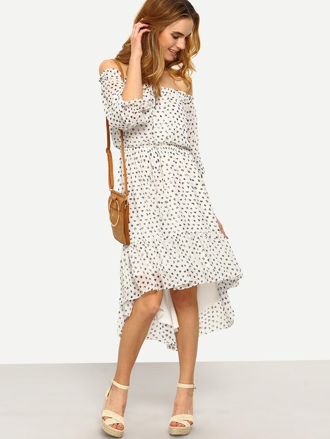 шифоновое платье белое в горошек