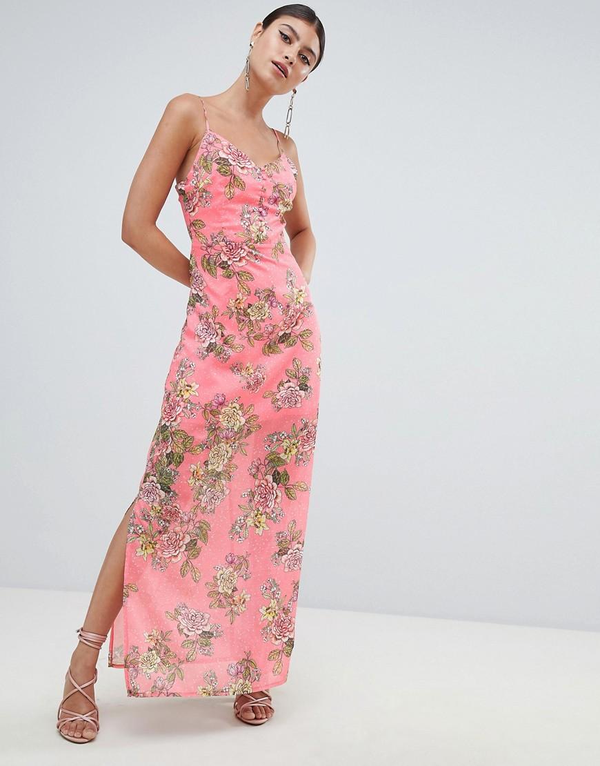 розовое шифоновое платье с цветочным принтом